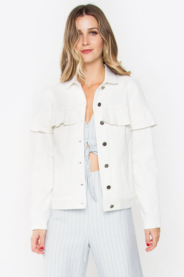 Livy White Ruffle Jacket