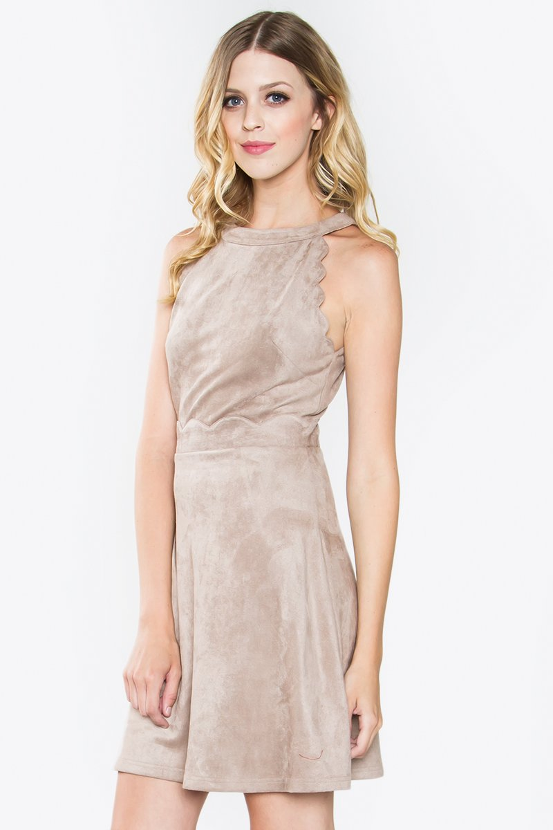 Zoie Scallop Suede Dress