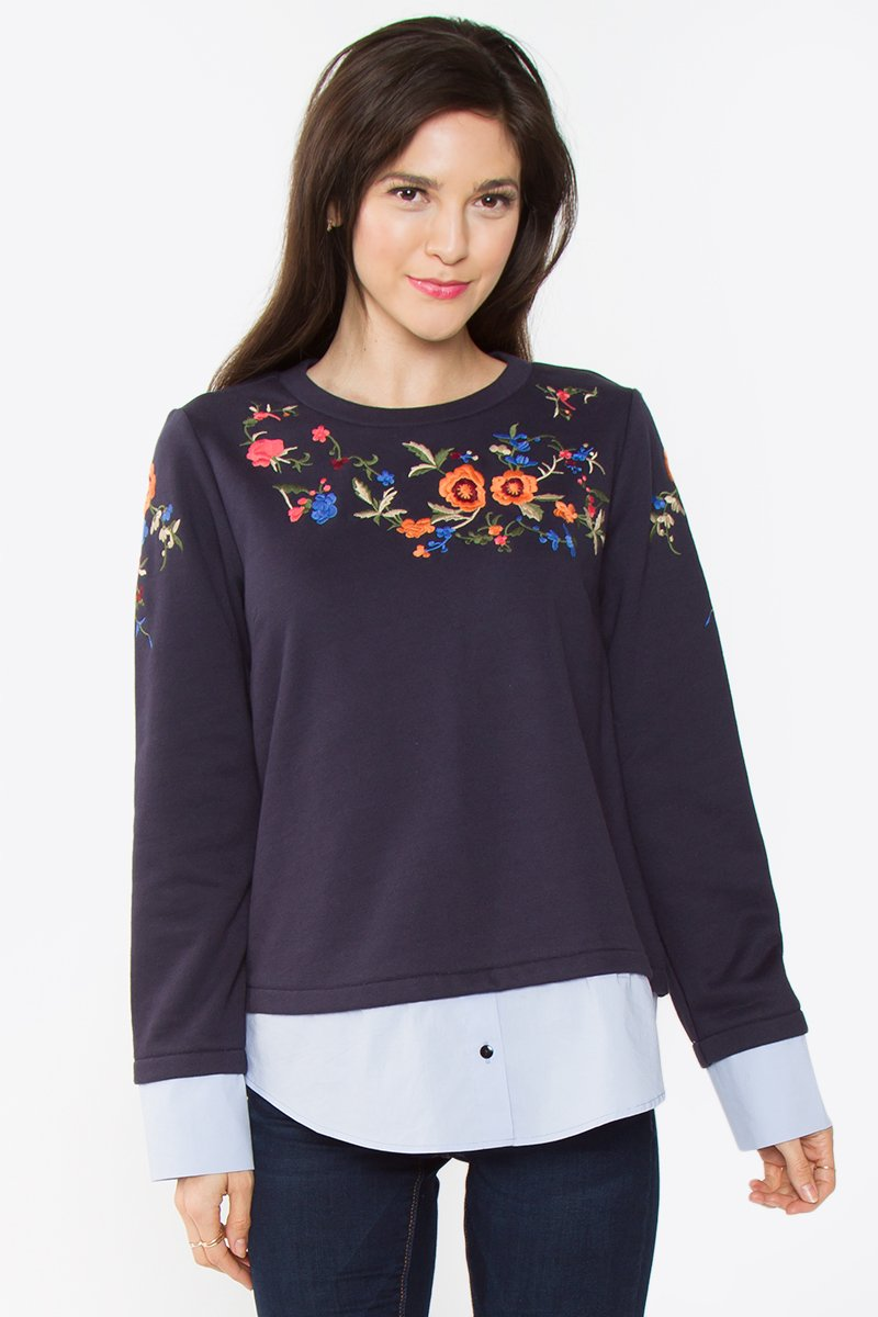 Elinor Embroidered Knit Top