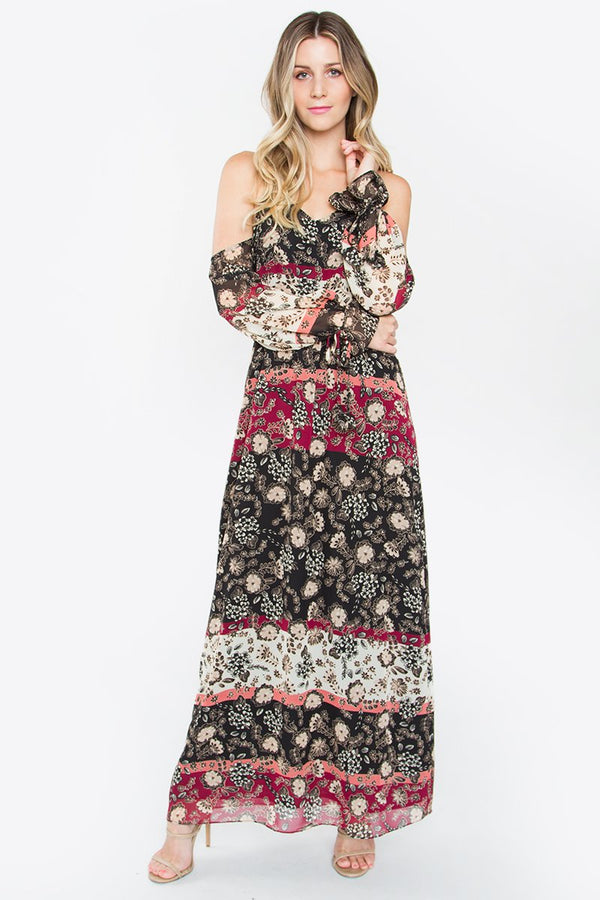 Leyna Open Shoulder Maxi Dress
