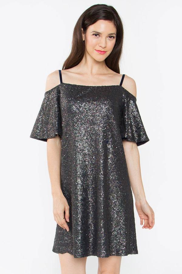 Eulalia Cold Shoulder Sequin Dress