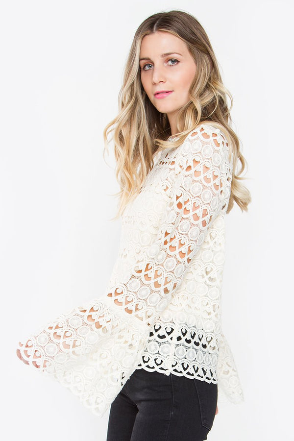 Landon Crochet Bell Sleeve Top
