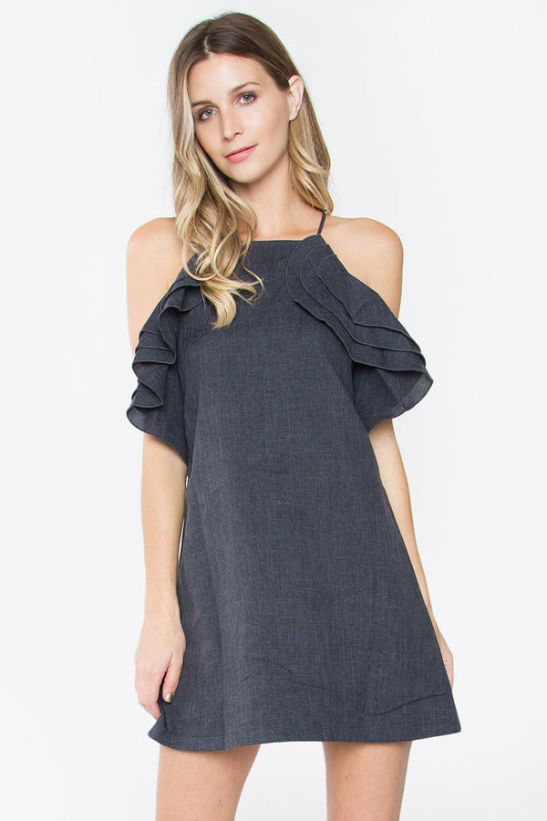 Charcoal Ruffle Dress