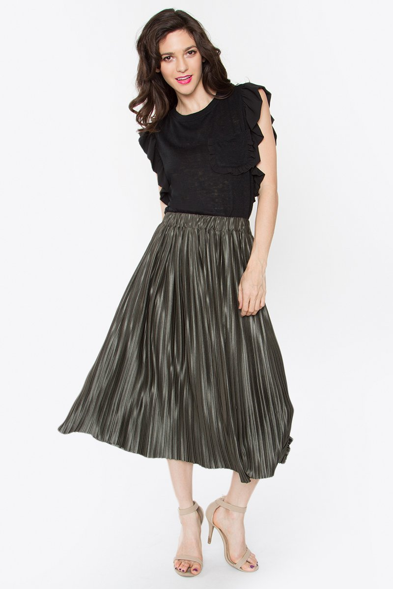 Evie Pleated Midi Skirt