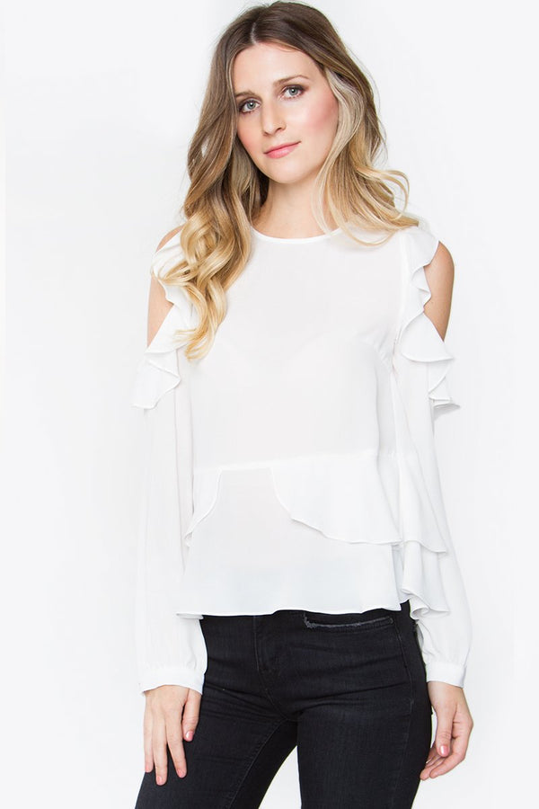 Emmeline Cold Shoulder Ruffle Top