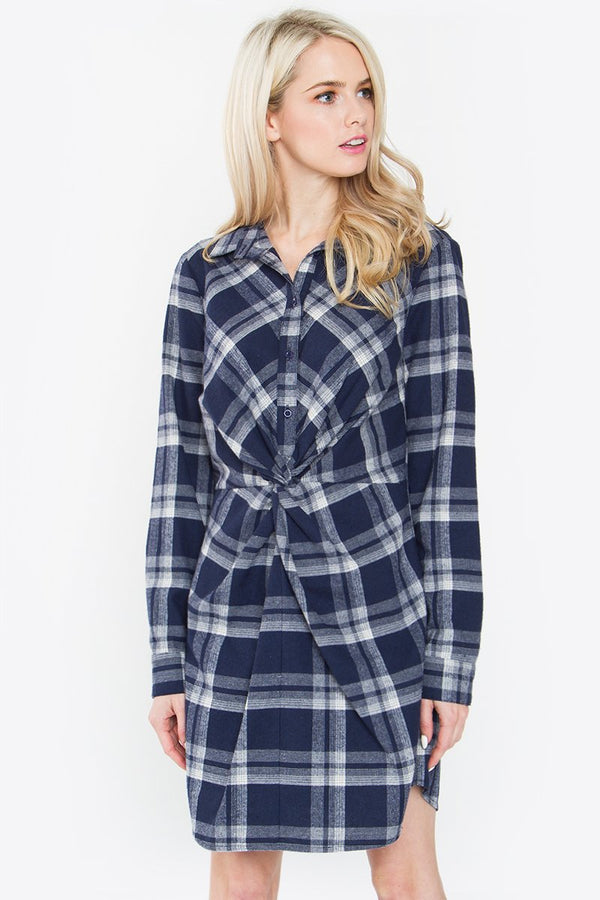 Anika Plaid Shirt Dress