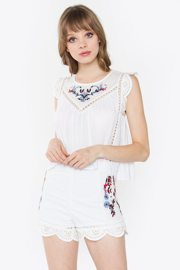 Astrid Embroidered Crop Top