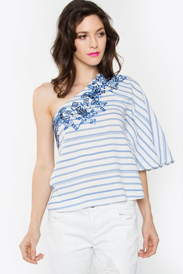Lyra Striped One Shoulder Top