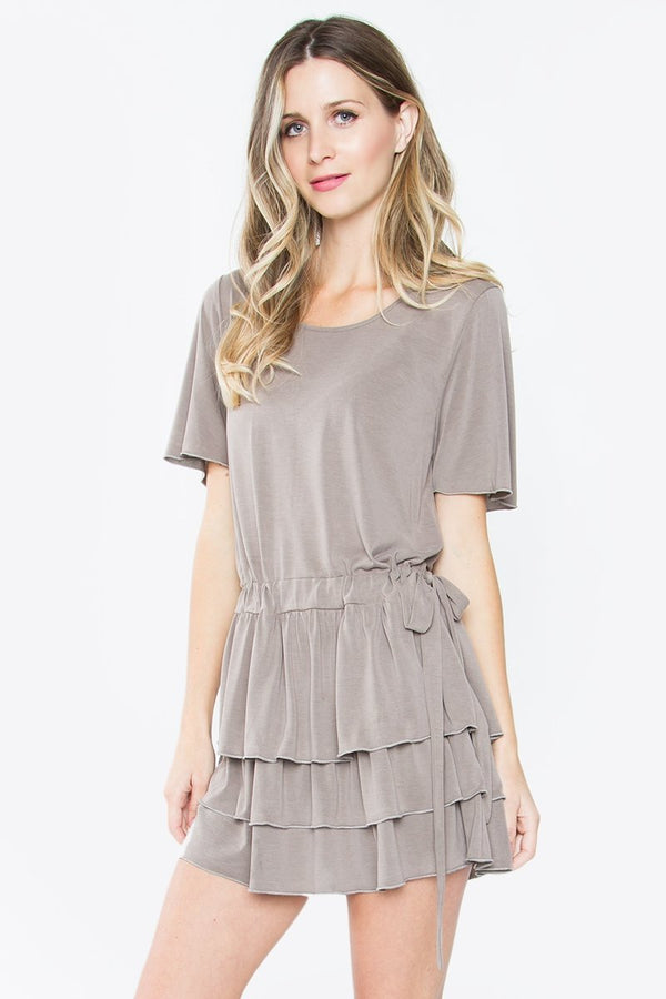 Sela Stone Ruffle Knit Dress