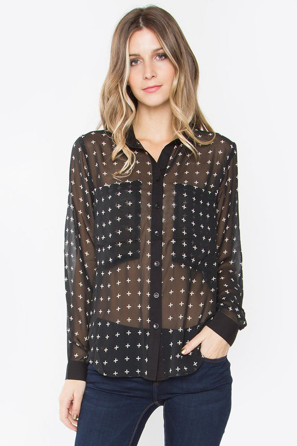 Cross Print Chiffon Shirt