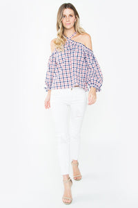 Morrison Plaid Open Shoulder Top