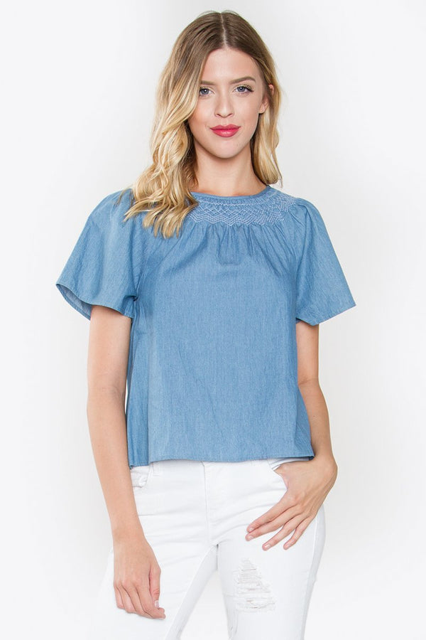 Brinley Chambray Top