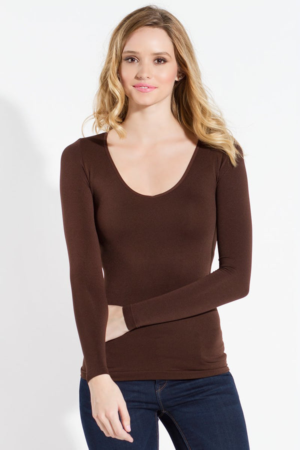 Seamless Long Sleeved V-Neck Top