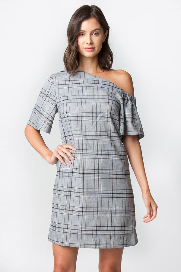 Sheffield Plaid One Shoulder Dress