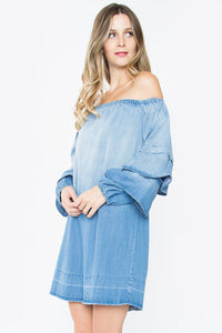 June Denim Off The Shoulder Dress