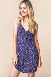 Casablanca Floral Front Tie Mini Dress