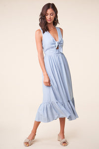 Oceanside Tie Front Midi Dress