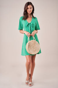 Mint Julep Polka Dot Tie Front Mini Dress