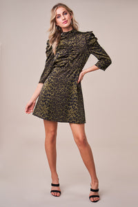 Love Me Not Leopard Puff Sleeve Dress