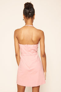 Pretty In Pink Curved High Neck Dress