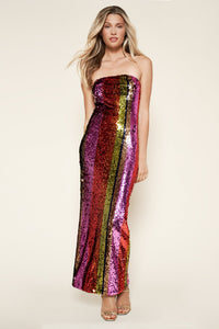 Endless Evening Strapless Sequin Maxi Dress