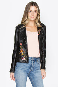 Corwin Embroidered Biker Jacket