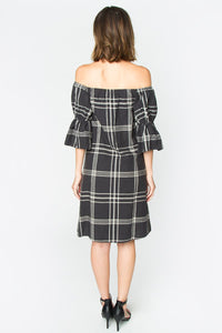 Jole Plaid Off The Shoulder Dress
