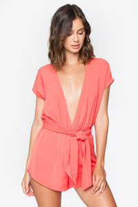 Zooey Coral Romper
