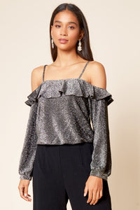 Shimmering Light Cold Shoulder Lurex Top
