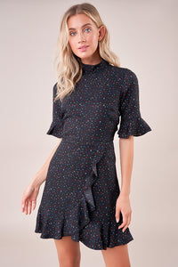 Reece Star Print Open Back Mock Neck Dress