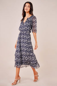 Renee Floral Puff Sleeve Midi Dress