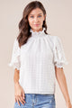 Keepsake White Smocked Mock Neck Blouse