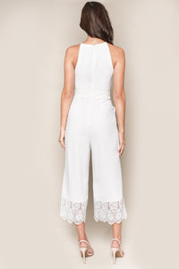 Forever Yours White Lace Trim Jumpsuit