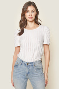 Beating Hearts Puff Sleeve Knit Top