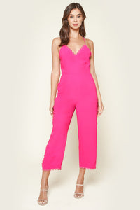 Perfectly Pink Scallop Lace Trim Jumpsuit