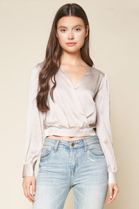 Sophisticated Hour Long Sleeve Surplice Top