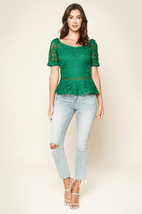 Sateen Lace Peplum Top