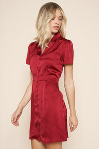 Collegiate Satin Button Down Dress