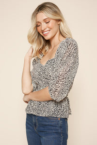 Anita Leopard Pleated Top