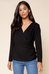 Julia Surplice Jersey Knit Top