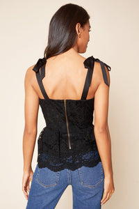 Arlene Tie Shoulder Lace Peplum Top