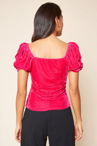 Sheila Puff Sleeve Velvet Top