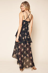Secret Romance Floral Print Ruffled High-Low Maxi Dress