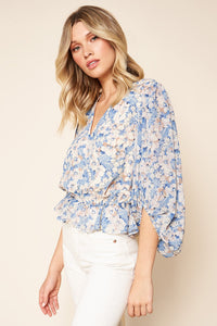 Walk On By Floral Balloon Sleeve Top