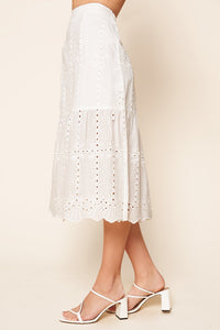 Moonbeam Eyelet Midi Skirt