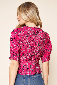 Savanna Pink Leopard Peplum Top