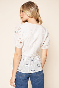 With A Kiss Short Sleeve Eyelet Peplum Top