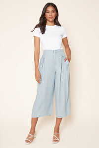 Cannes Chambray Cropped Wide Leg Pants