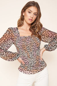 Electric Cheetah Smocked Top