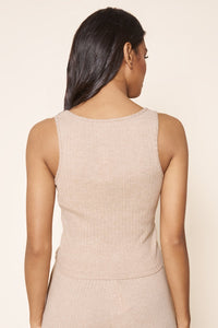 Provence Ribbed Knit Cropped Tank Top